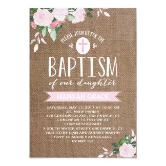 Floral Blooms Burlap | Baptism Invitation