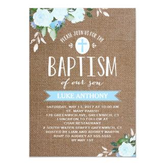 Floral Blooms Burlap Blue | Baptism Invitation