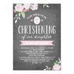 Floral Blooms Chalkboard | Christening Invitation