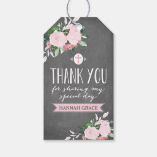 Floral Blooms Chalkboard Religious Thank you Tag