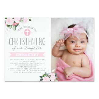 Floral Blooms Pink   Christening Invitation