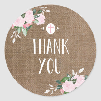 Floral Blooms Religious Thanks Sticker Burlap