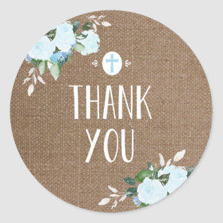 Floral Blooms Religious Thanks Sticker Burlap Blue