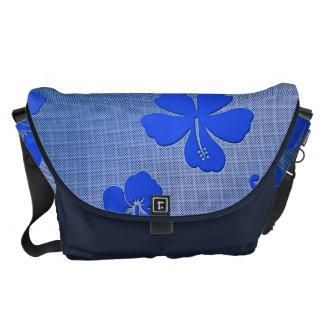 Floral blue aluminum bag into large messenger bag
