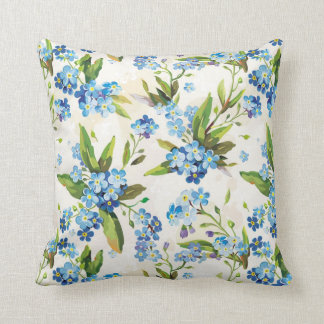 Floral Blue and Green Throw Pillow