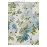 Floral Blue And White Rose Pattern Notecard Note Card