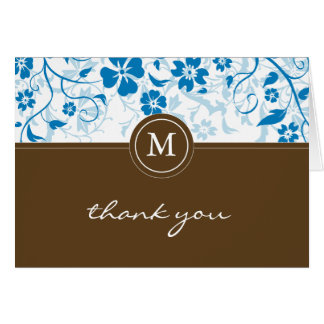 Floral Blue-Brown Monogram Thank You Card