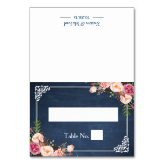 Floral Blue Chalkboard Wedding Seating Place Card
