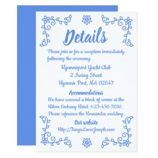 Floral Blue Cornflower Directions Flowers  Wedding Card