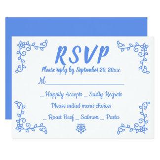 Floral Blue Cornflower RSVP Wedding Flower Laurel Card
