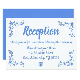 Floral Blue Cornflower Wedding Reception Laurel Card