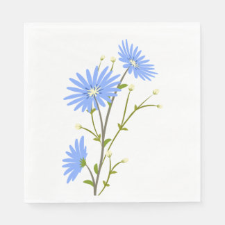 Floral Blue Daisy Flowers Wedding Party Daisies Disposable Napkin