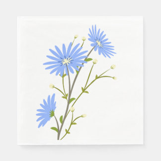 Floral Blue Daisy Flowers Wedding Party Daisies Disposable Serviettes