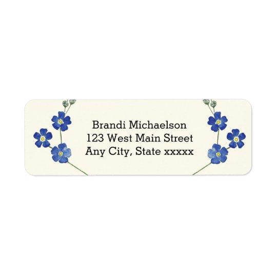 Floral Blue Forget Me Nots Watercolor Flower Return Address Label