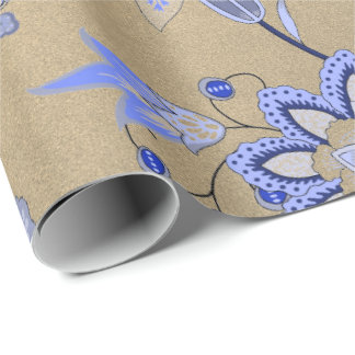 Floral Blue Gold Delicate Oriental Gold Foxier Wrapping Paper