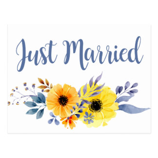 Floral Blue Just Married  Yellow Flowers Wedding Postcard