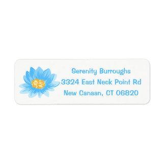 Floral Blue Lotus Flower - Turquoise Wedding Return Address Label