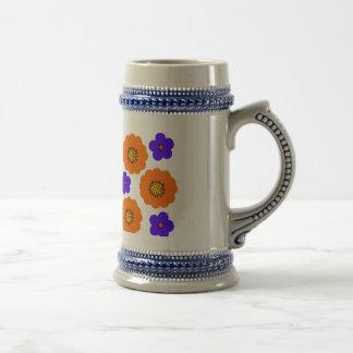 Floral Blue Orange designs Pitchers mugs