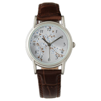 Floral Blue Silver Cherry Blossoms Numbers Watch