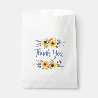 Floral Blue Thank You Yellow Flowers Wedding Party Favour Bag