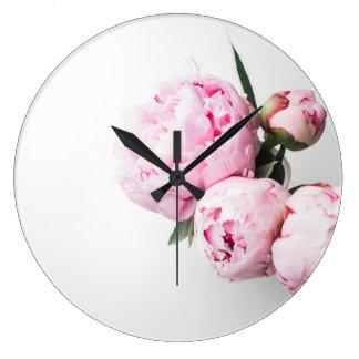Floral Blush Pink Peonies Large Clock