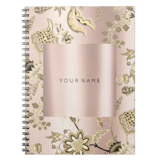 FLORAL Blush Pink Rose Gold Powder Metallic Notebooks