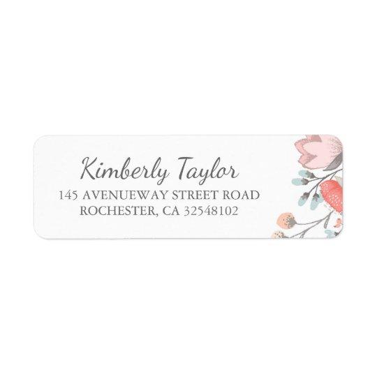 floral blush pink wedding return address label