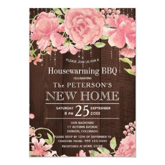 Floral blush rose peonies rustic housewarming bbq card