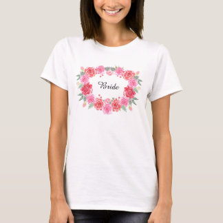 Floral bohemian bride rose wreath T-Shirt