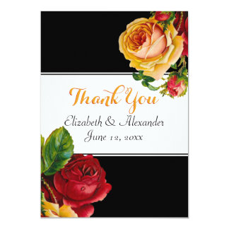Floral Bohemian Red and Yellow Roses 13 Cm X 18 Cm Invitation Card