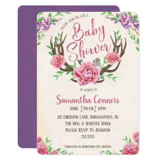 Floral Boho Antler Baby Shower Invitation