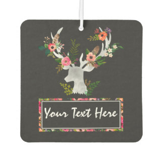 Floral Boho Deer Personalized Car Air Freshener