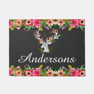 Floral Boho Deer Personalized Monogram Door Mat
