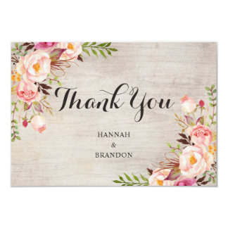 Floral Boho Thank You Card Bohemian Watercolor