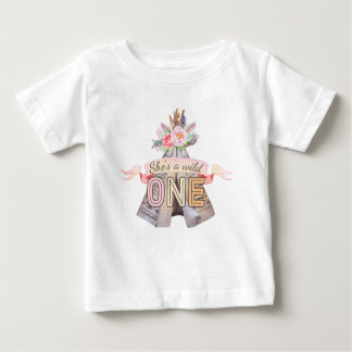 Floral Boho Tribal Teepee Wild One 1st Birthday Baby T-Shirt