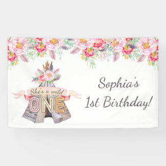 Floral Boho Tribal Teepee Wild One 1st Birthday Banner