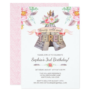 Floral Boho Tribal Teepee Young Wild 3rd Birthday Card