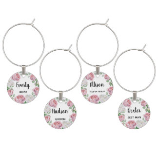 Floral Boho Watercolor Pink Rose Wedding Party Wine Charm