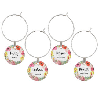 Floral Boho Watercolor Wedding Party Wine Charm