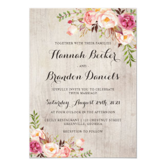 Floral Boho Wedding Invitation