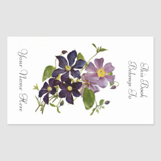 Floral Bookplate Rectangular Sticker