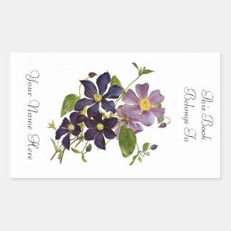 Floral Bookplate Rectangular Sticker