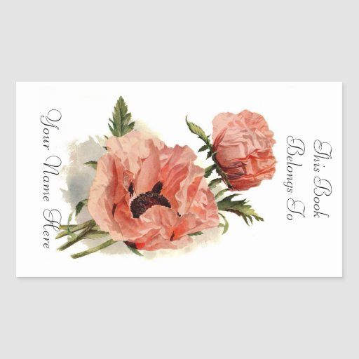 Floral Bookplate Rectangle Stickers