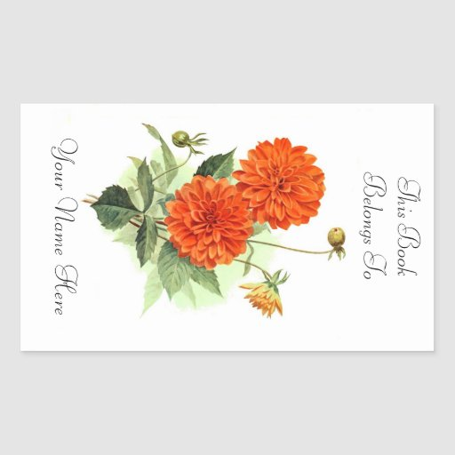 Floral Bookplate Rectangle Sticker