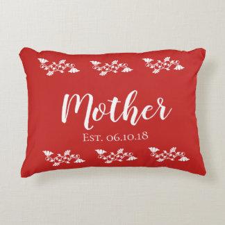 Floral Border Mother Est. Red Accent Pillow