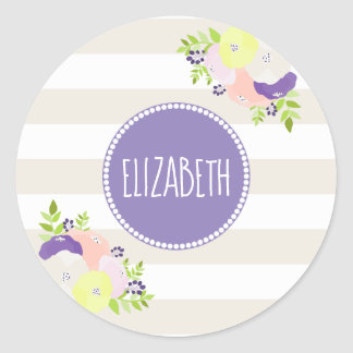 Floral Bouquet Beige Stripe Purple Monogram Name Classic Round Sticker