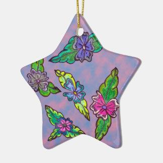 Floral Bouquet Ceramic Star Decoration
