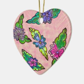Floral Bouquet Ceramic Heart Ornament