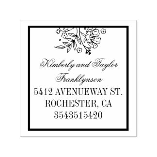 Floral Bouquet Elegant Wedding Self-inking Stamp