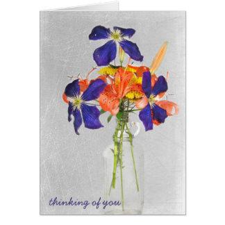 floral bouquet in retro bottle card